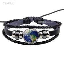 Classic Fashion Glamour Planet Blue Earth Photo Glass Ball Button Leather Cosmic Solar System Pendant Jewelry Bracelet Gift