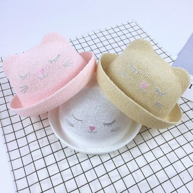 f28e059ca9b53 Verano sombrero de paja con oídos de gato para Niños Niñas playa sombreros  sombrero para bebé