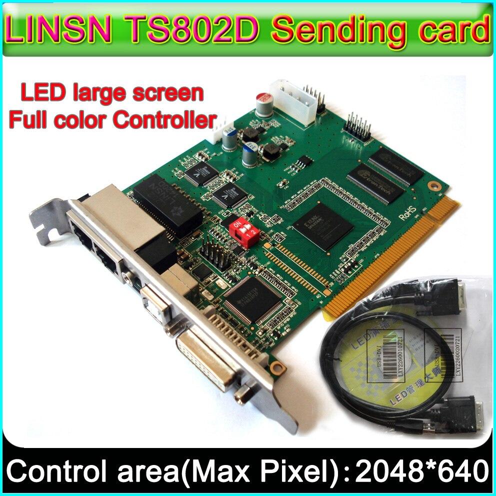 Светодиодный дисплеи Linsn Управление системы, TS802D отправки карты + 2 шт. RV908 принимающая карта, полный Цвет P3 P10/P16 светодиодный модуль контролл