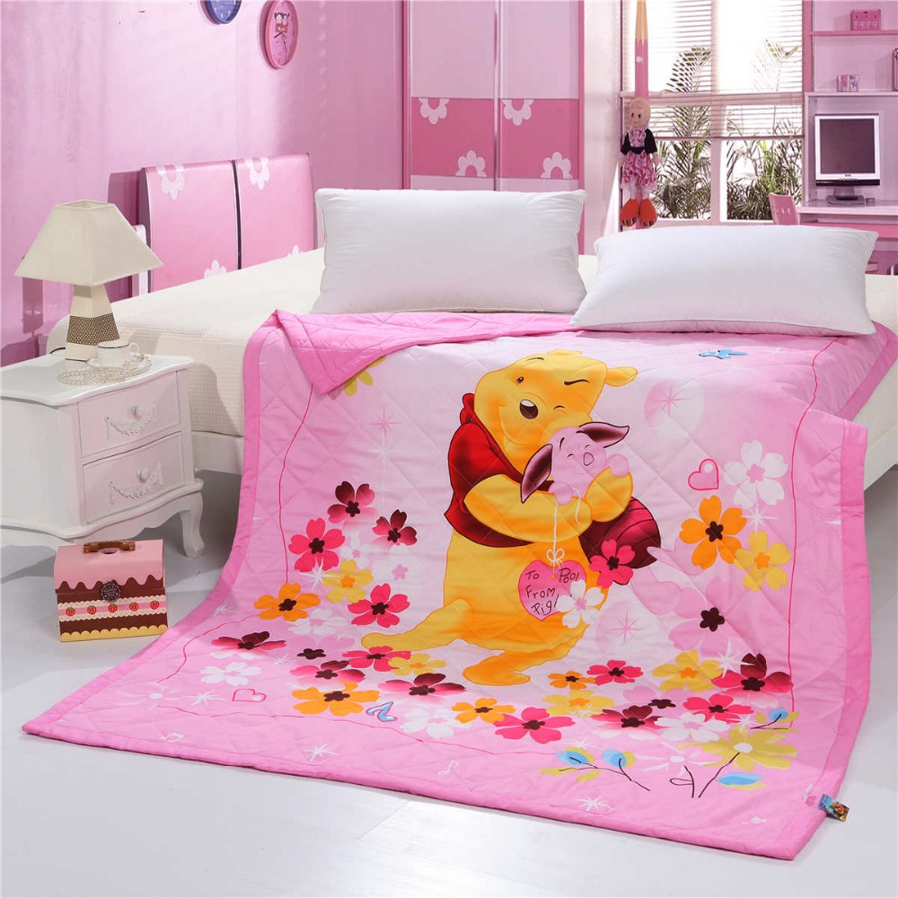 US $45.59 24% OFF|Pink Romantic Disney Winnie the Pooh Quilt Summer  Comforter Bedding Cotton Fabric Babies Kids Bed Cover Coverlet Cartoon  Bedroom-in ...