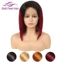Мягкость волос Ombre короткий боб парик прямые чёрный; коричневый русый Бургундия Синтетические волосы на кружеве натуральные волосы парики