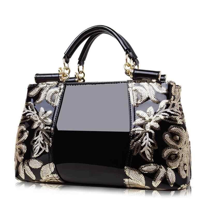 Bolsa feminina de couro, nova bolsa feminina de marca de luxo feita em couro de lantejoulas, estilo carteiro saco do saco