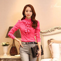 woman  New Arrival Fashion Chiffon Full Ruffles Regular Solid Puff Sleeve Natural Color T-shirts