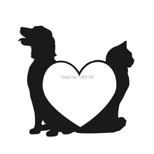 Dog Love Cats Pets Silhouette car window sticker vinyl decal funny JDM and all the smooth surface