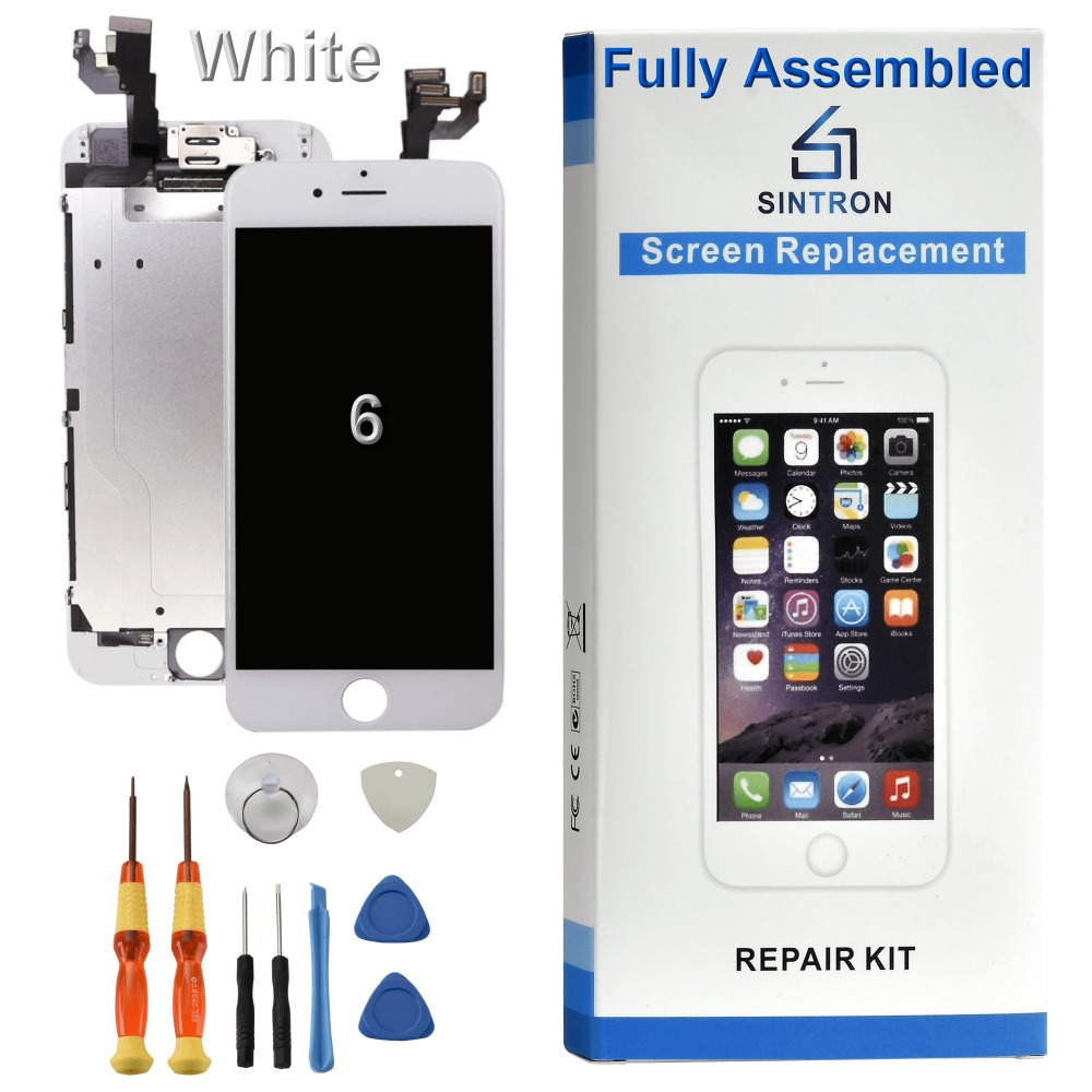 Sintron OEM For <font><b>iPhone</b></font> <font><b>6</b></font> <font><b>Screen</b></font> Replacement Fully Assembled White Panel Display Including Original Parts With Free Repair Tools image