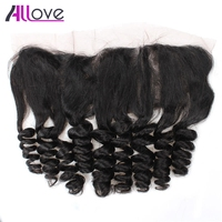 Allove Hair Loose Wave Lace Frontal Closure Free Part Indian Remy Human Hair Weave 13X4 Ear To Ear Hair Lace Frontal Closure