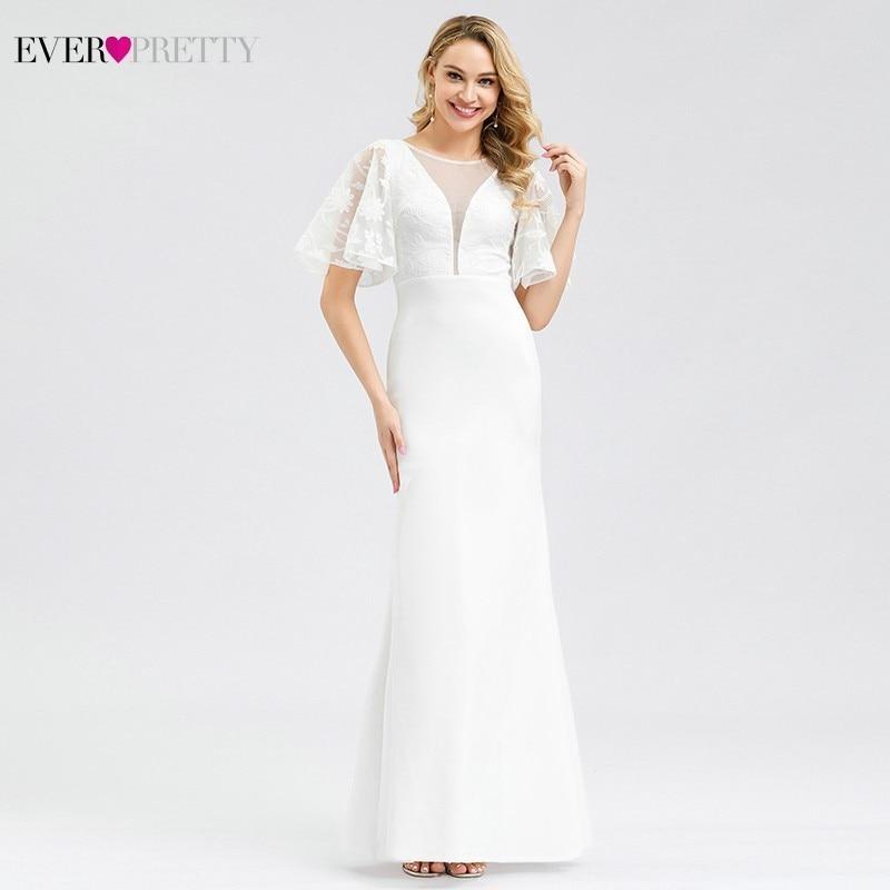 Vestido De Noiva Ever Pretty Mermaid Wedding Dresses O Neck Short Sleeve Elegant White Formal Bride