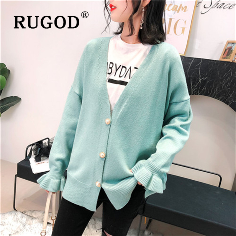 RUGOD Korean sweet knitted cardigan women Elegant V neck flare sleeve loose streetwear female chompas para mujer 2019