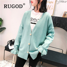 RUGOD Korean sweet knitted cardigan women Elegant V neck flare sleeve loose streetwear female chompas para mujer 2019