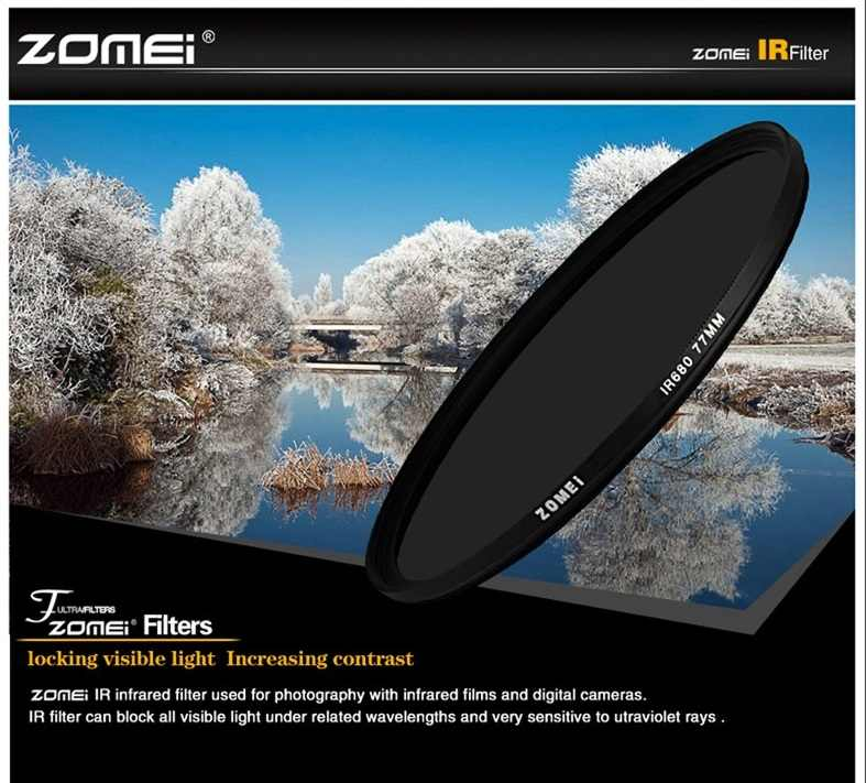 Zomei 680nm 720nm 760nm 850nm 950nm  Infrared IR filter 37/49/ 52/ 58/ 67/72/ 82mm for SLR DSLR camera lens