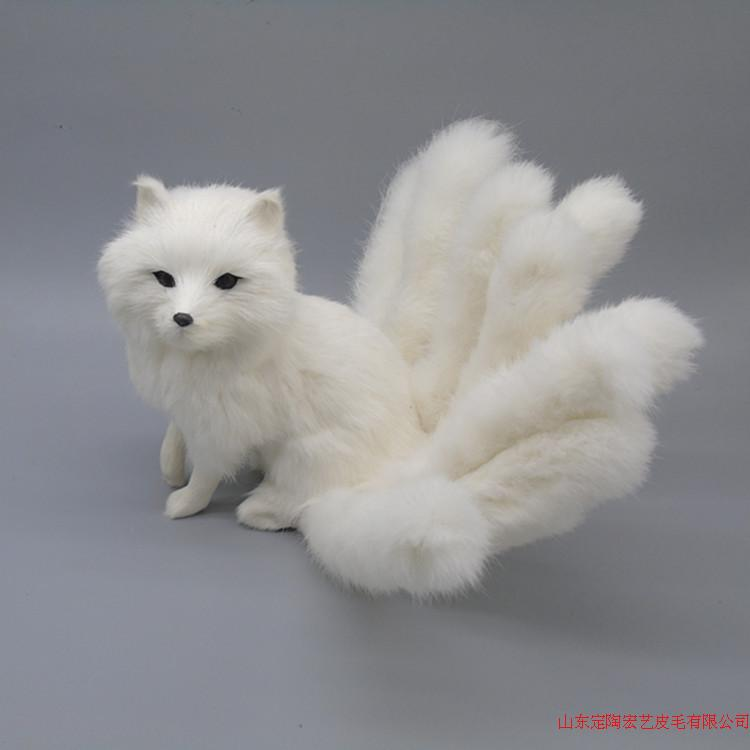creative simulation nine tails fox toy polyethylene & furs white fox model gift about 35x18cm 194 image