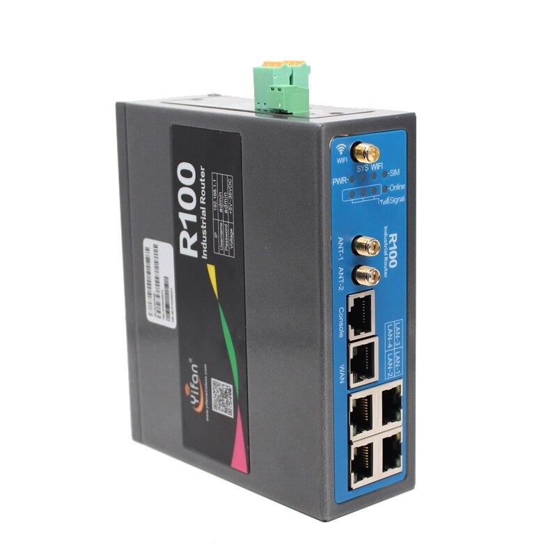 Suporte I/O port R100 industrial 4G VPN router wi-fi com slot para cartão Sim porta Ethernet