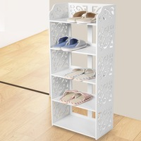 5 Tier White Hollow Out Shoe Rack Stand Storage Organiser Shelf