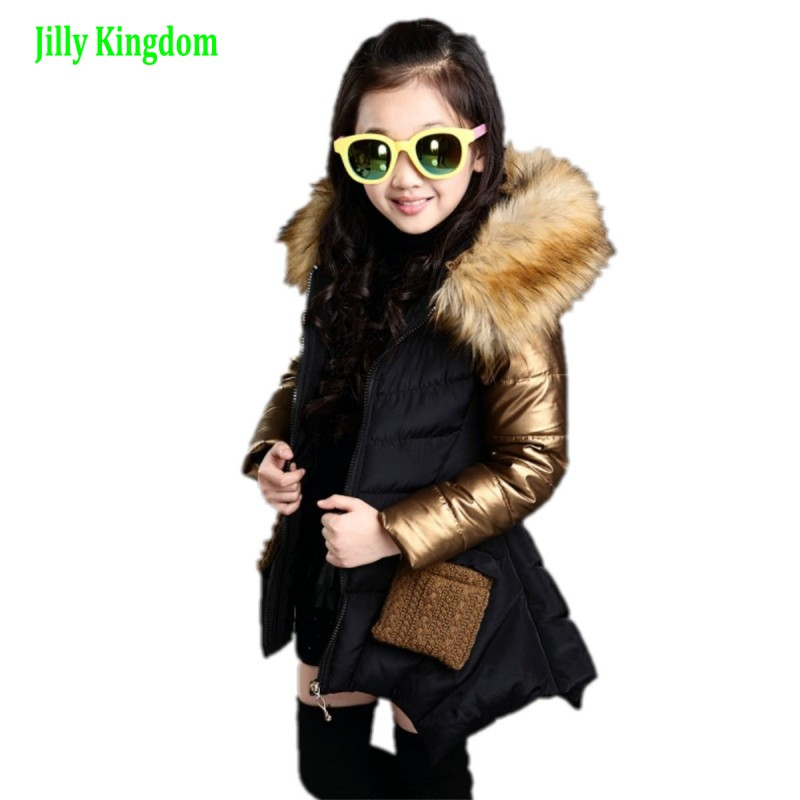 New Thickness Warmer Down Jacket For Girl Fashion Kids Winter Jacket Manteau Fille Hiver Hooded Girls Winter Coat 4-13Y new in stock 6ri50p 160 50