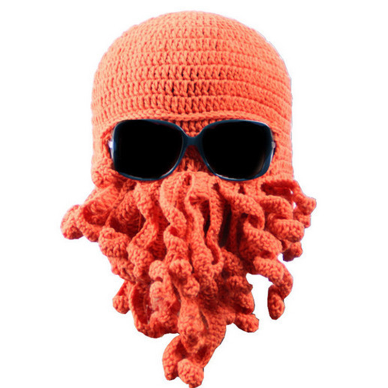 Bigsweety Hot Sale Funny Beard Octopus Hats Novelty Handmade Knitting Wool Caps Crochet Knight   Beanies   For Men Unisex Gift