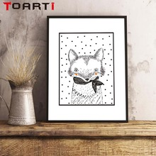 Animals Black Whilt A Fox Wearing Scarf Portrait A4 Canvas Art Print Painting Poster For Nursery Children Bedroom home Decor