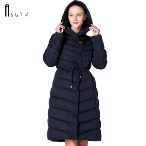 Image 3 - ASLTW femmes manteau dhiver nouveau mode décontracté femmes de haute qualité Parkas manteau Long avec ceinture à capuche marque Plus la taille 4XL vestes chaudes