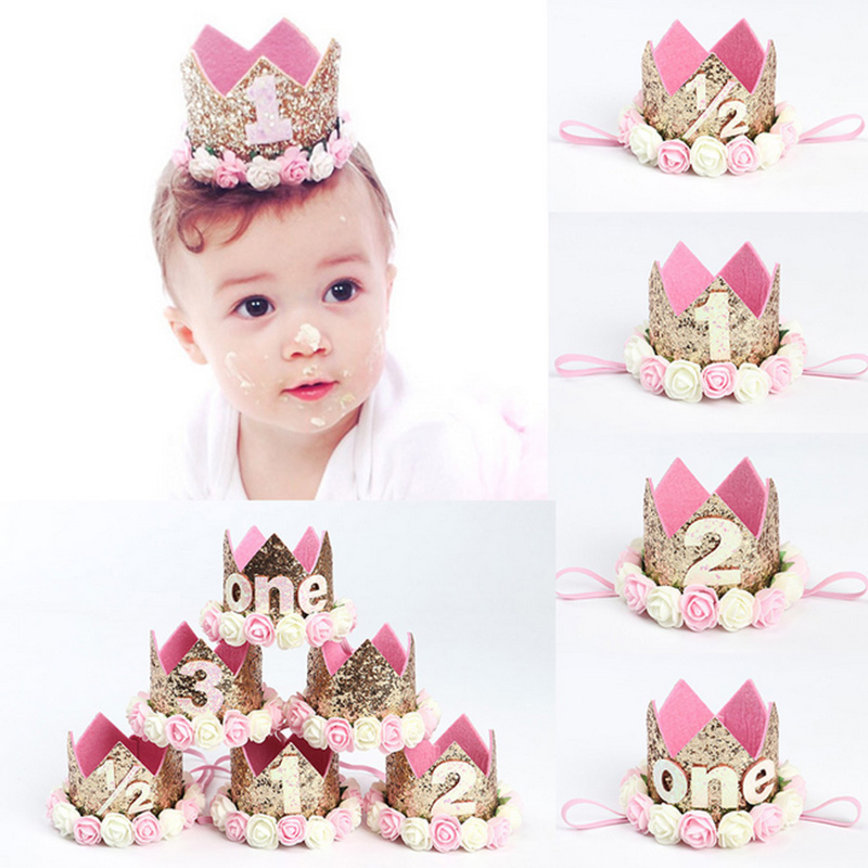 MAXGOODS Princess Tiara CrownBaby Girls Kids First Birthday Hat Sparkly Gold Flower