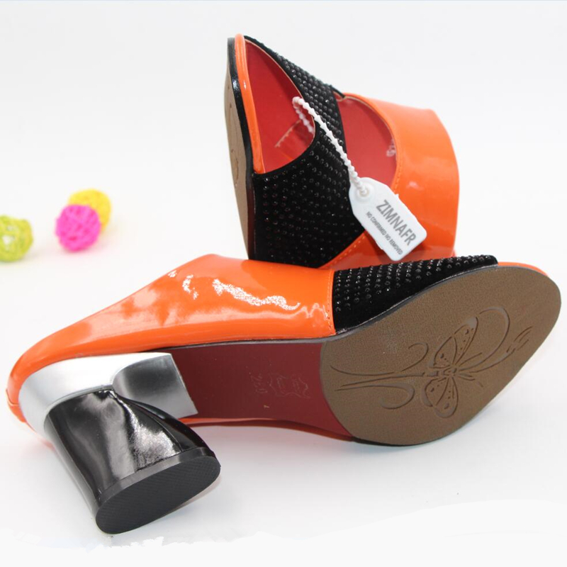 zimnafr бренд горячая распродажа 2017 года женские тапочки из натуральной кожи со стразами на высоком толстом каблуке, сандалии с открытым носком большие размеры 34-42