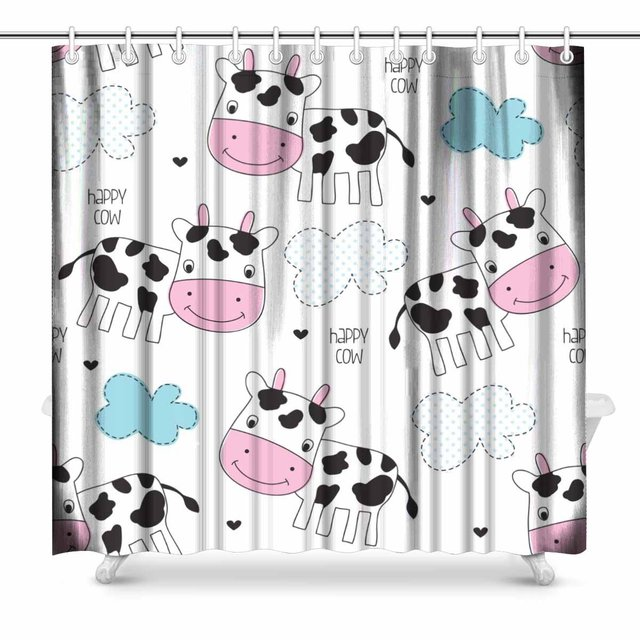 Aplysia Happy Cow Pattern Country Style Theme Fabric Bathroom Decor Shower Curtain Set With Hooks 72