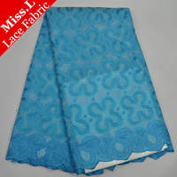 2017 New arrival African french lace fabric high quality Embroidered Clover Flower sky blue cheap Mesh materian for Women dress