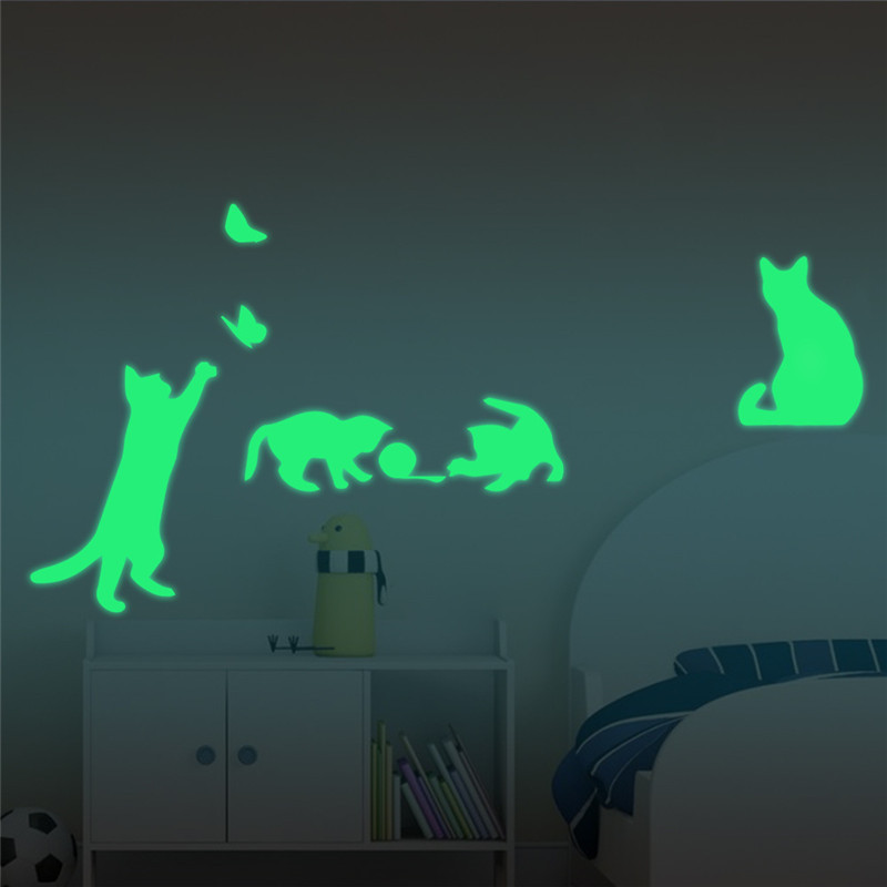 4pcs Creative Fluorescent  Cats Butterfly  Wall Stickers Glow Dark Luminous Paste Ceiling Living Room Bedroom Home Decoration