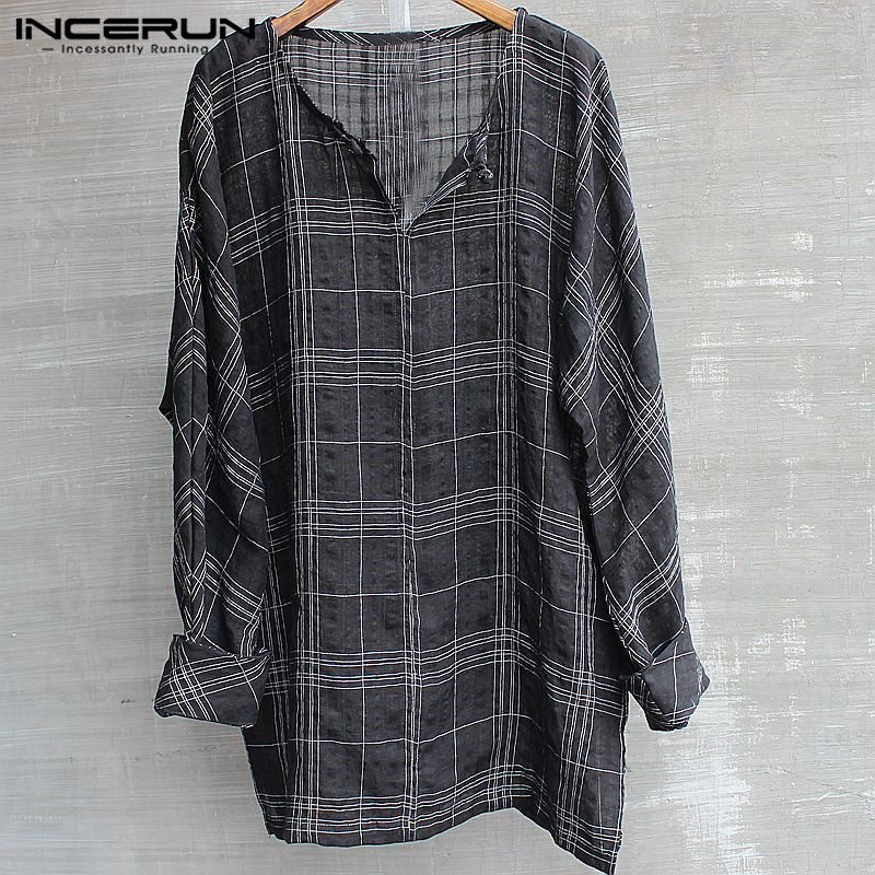 INCERUN Vintage Mens T Shirts Long Sleeve Hiphop 2018 Fashion Lattice O-Neck Casual Tee 5XL Camisas Hombre Autumn Mens Clothing