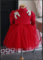 Freies Schiff Mädchen Winter Kleid Robe princesse Fille 2015 Pullover Prinzessin Kleid Mädchen Langarm Vestidos Partei Kaninchen Kleid