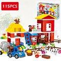 115 unids mi primer ville grande granja modelo tamaño grande figura de acción building blocks ladrillos compatibles con lego duplo