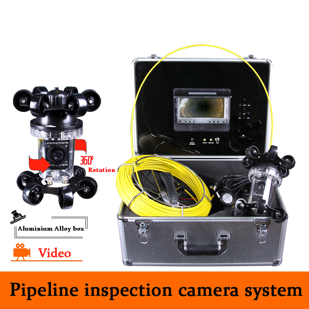 New 360 degree industrial endoscope underwater video system pipe wall inspection system Sewer Camera DVR waterproof HD 1000TVL dhl free wp90 50m industrial pipeline endoscope 6 5 17 23mm snake video camera 9 lcd sewer drain pipe inspection camera system