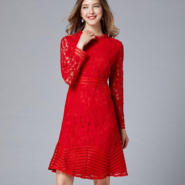 f2614474a 2019 femmes élégantes sirène dentelle robe de soirée grande taille manches  longues coeur forme design creux robes rouges