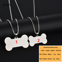 Eleple Stainless Steel Dog Bone Pendant Lettering Black Gold Color Necklace for Women or Men Unique Jewelry Wholesale S-P02