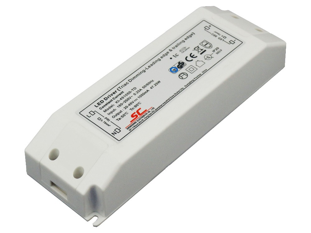 45W triac constant current dimmable LED driver;AC90-130V or AC180-250V input 60w 80w constant voltage triac dimmable led driver waterproof transformer ac180 250v 90 130v to12 24v power supply for lighting