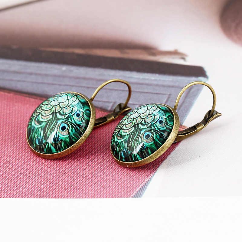 LNRRABC Vendita 1 pair Orecchini Classico Del Partito di modo Del Pavone Wedding peloso Tempo gioiello Orecchini Bella Unico materiale di Vetro