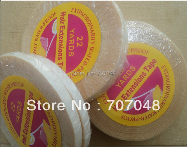 Wholesale high quality  Super hair tape white color double tape for skin hair weft /pu hair weft 0.8cm x 22 yards
