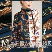 19 сезон: весна–лето современного рукоделия 100% шелк цифровая печать на ткани для женское платье 16 momme 140 см широкая полоска ткани для Diy Швейные Лидер продаж