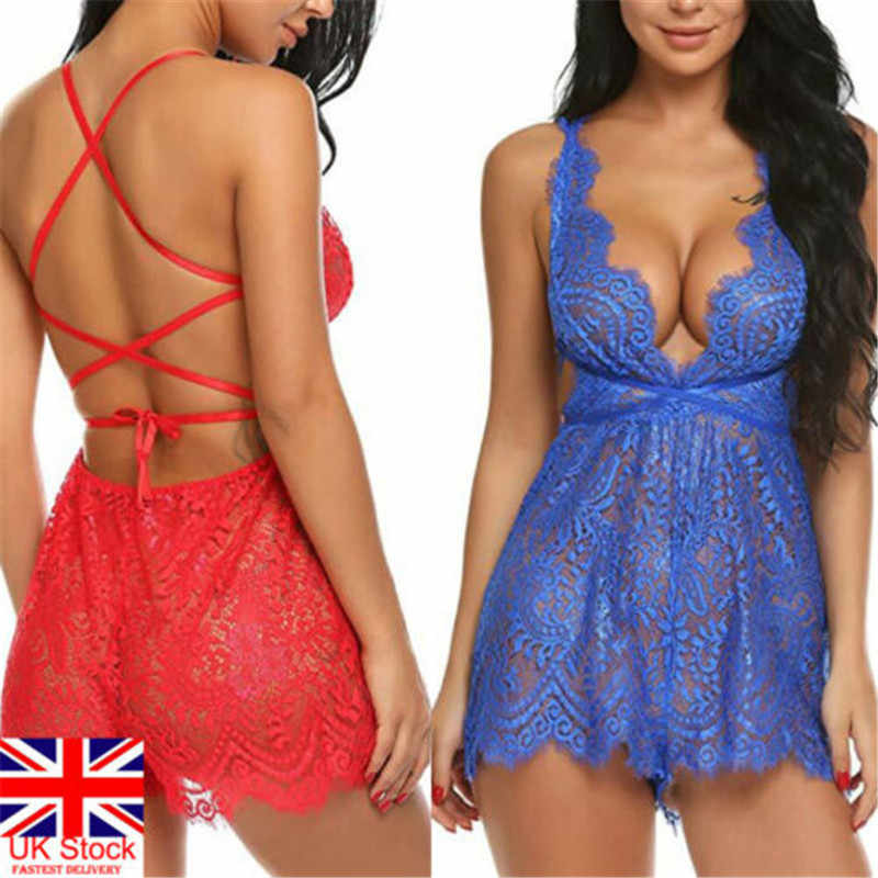 Lingerie Sexy hot Erotic Lace Nightgowns com tiras v neck backless Lace up mini vestido Lady Nightdress Underwear abydoll Sleepwear