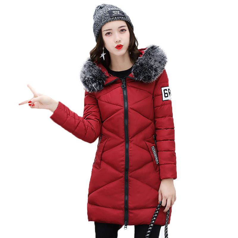 2019 New Arrival Women Winter Jacket Cotton Padded Long Hooded Warm Outwear Female Coat   Parka   Slim Casaco Feminina Inverno