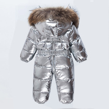 New Childen Duck down Snowsuit Children Winter Jumpsuit Baby Snowsuit Newborn Overalls Sliver Romper Outfits