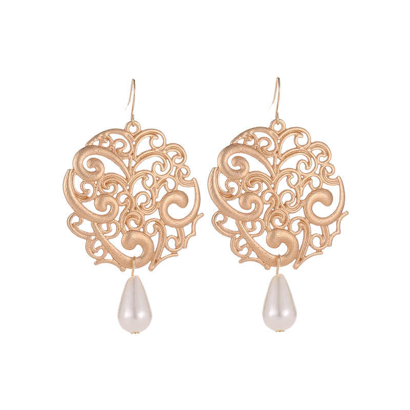 Vintage Antique Silver Gold Black Earring Geometirc Hollow Flower Carving Drop Earrings for Women Earring Jewelry