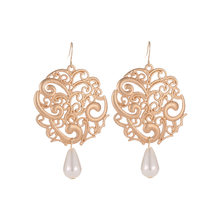 Vintage Antique Silver Gold Black Earring Geometirc Hollow Flower Carving Drop Earrings for Women Earring Jewelry(China)