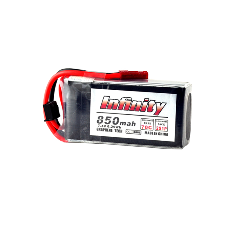 New Arrival Infinity <font><b>2S</b></font> 7.4V <font><b>850mAh</b></font> 70C Graphene <font><b>LiPo</b></font> Battery JST / XT30 Connector for RC Multicopter Model Power Accs image