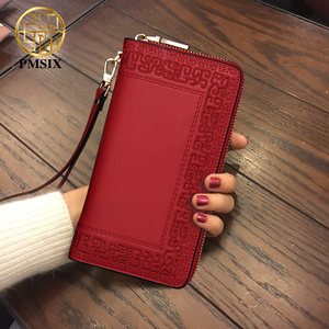 Image 2 - Pmsix 2020 Embroidery Cattle Split Leather Wallet Zipper Brand Long Womens Wallets Purses Black Red Ladies Clutch Wallet P420017