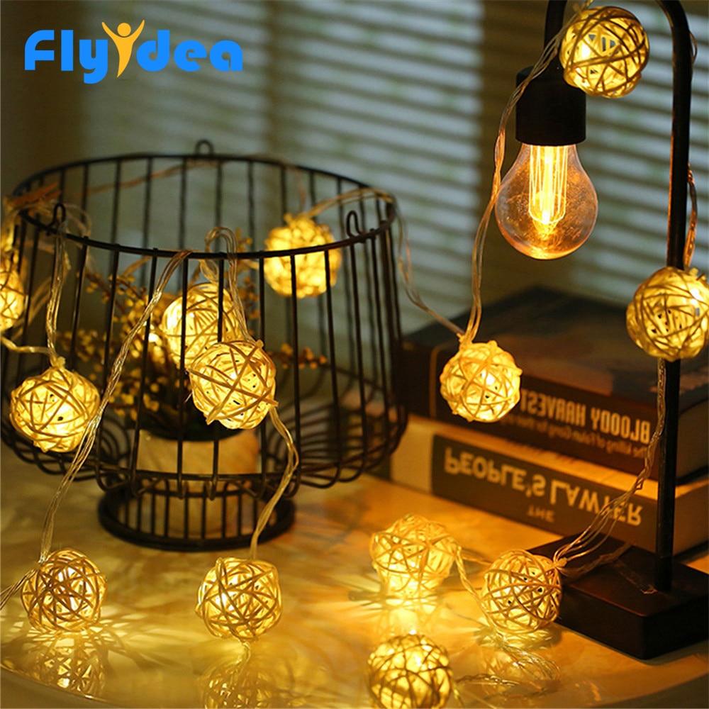 5M LED Cotton Light String 220V/110V Christmas Fairy Decorative Light Rattan Balls Lamp Warm White Party Wedding Garden Garland