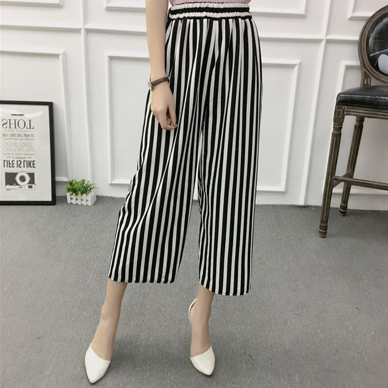 ETOSELL Women New Summer Wide Leg Pants Casual Loose High Elastic Waist Harem Pants Loose Belt Striped Elasticated Trousers 14