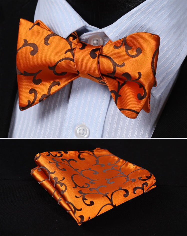 BF430D Gold Orange  Floral 100%Silk Jacquard Woven Men Butterfly Self Bow Tie BowTie Pocket Square Handkerchief Hanky Suit Set
