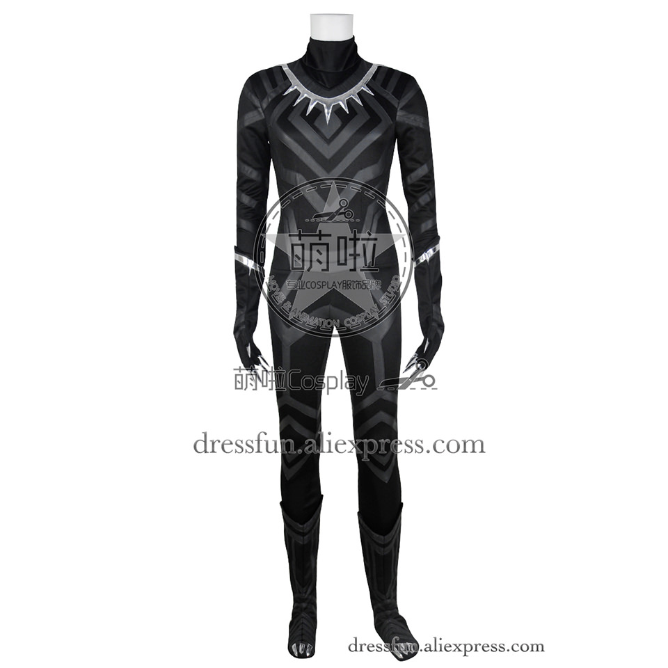 Captain America Civil War Cosplay Black Panther Costume Full Set Uniform Outfits Suit Halloween Fashion Party Fast Shipping