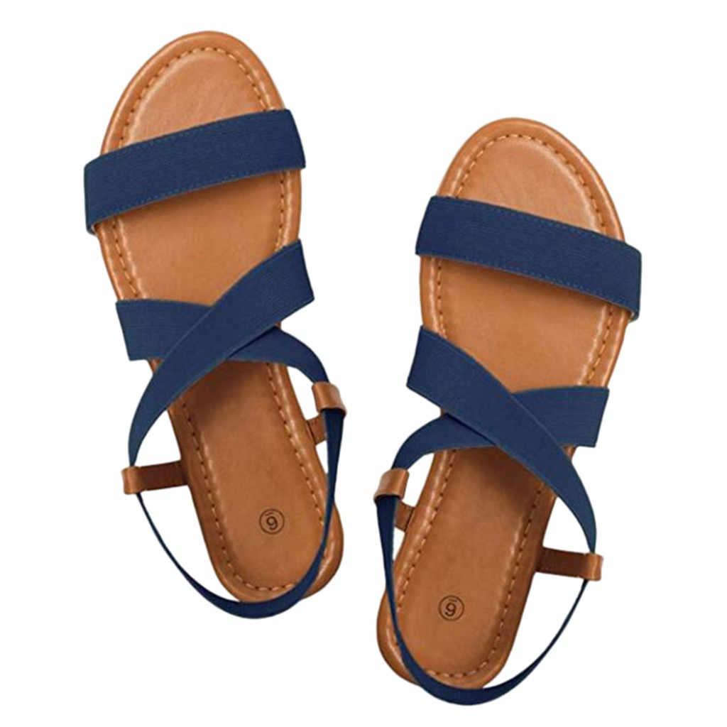 Zapatos de mujer ayakkabı kadın sandalet bayanlar moda rahat düz sandalet ayakkabı düz renk yaz rahat sandalet düz ayakkabı