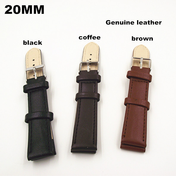 Wholesale 100PCS / lot  High quality 20MM watch band Genuine leather Watch strap brown , coffee ,black color 3 color available | Watchbands