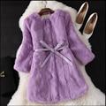 Inteiras de Pele Verdadeira Pele De Coelho Natural Casaco De Pele Novo Inverno Longo casaco feminino coreano luva dos três quartos casacos de pele macia com a cinto